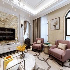新古典风格客厅全景效果图