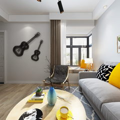 现代简约客厅全景效果图