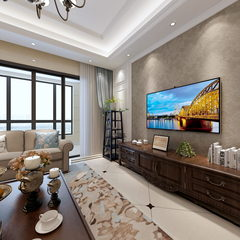 美式客厅全景效果图
