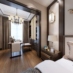 新中式卧室720全景效果